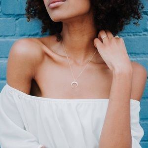 4 for $25 simple crescent moon horn necklace